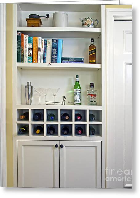Shelving Greeting Cards - Built In Shelving And Wine Rack Greeting Card by Francis Zera