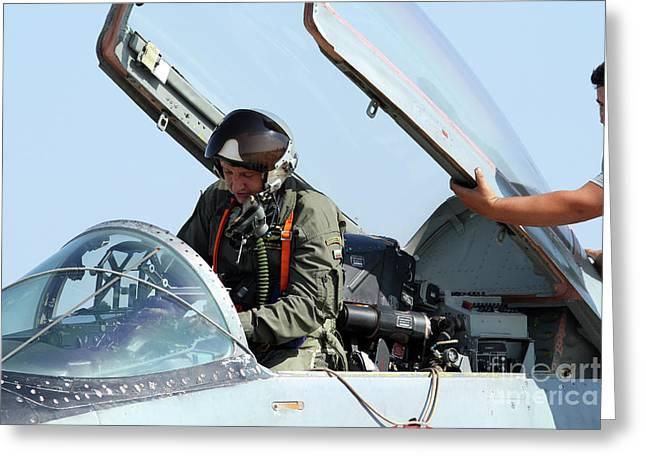 Man Looking Down Greeting Cards - Bulgarian Air Force Pilot Greeting Card by Anton Balakchiev
