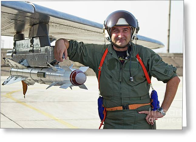 Hand On Waist Greeting Cards - Bulgarian Air Force Pilot Stands Next Greeting Card by Anton Balakchiev