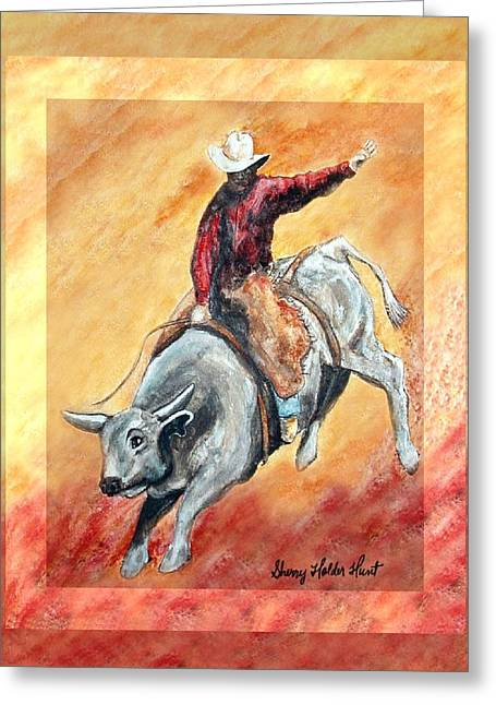 Cowboys Greeting Cards - Bull and Rider Greeting Card by Sherry Holder Hunt