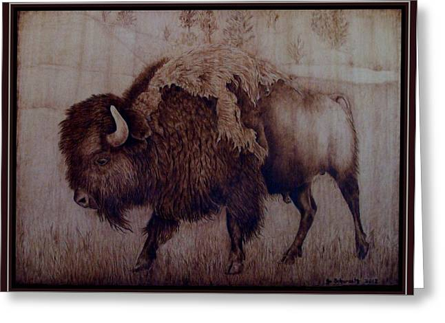 Horns Pyrography Greeting Cards - Bull Attitude Greeting Card by Jo Schwartz