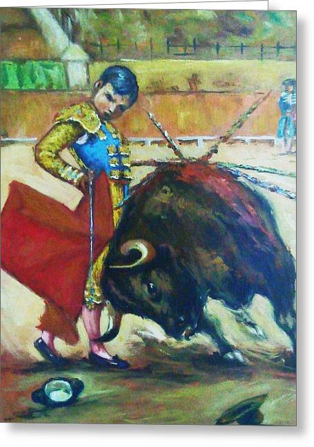 Mexican Fighters Greeting Cards - Bull Fighter 2 Greeting Card by Baez