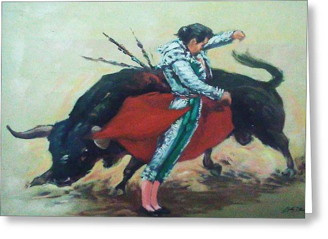 Bull Fighter 3 Greeting Card by Baez