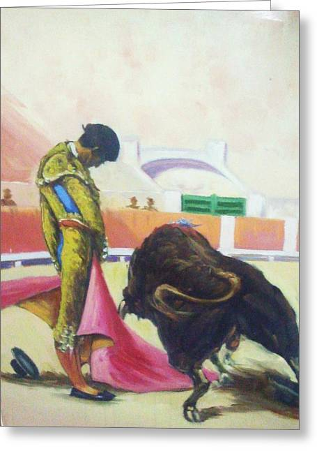 Mexican Fighters Greeting Cards - Bull Fighter Greeting Card by Baez