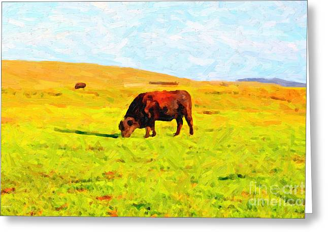 Bull Grazing In The Field Greeting Card by Wingsdomain Art and Photography
