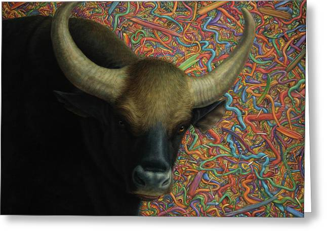 Bulls Greeting Cards - Bull in a Plastic Shop Greeting Card by James W Johnson