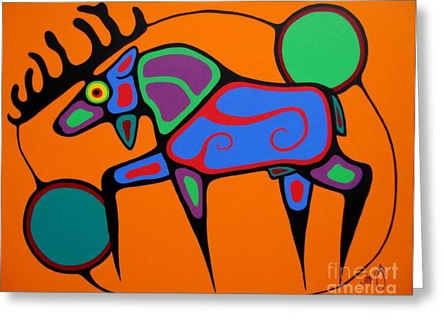 Shaman Art Greeting Cards - Bull Moose Greeting Card by Jim Oskineegish