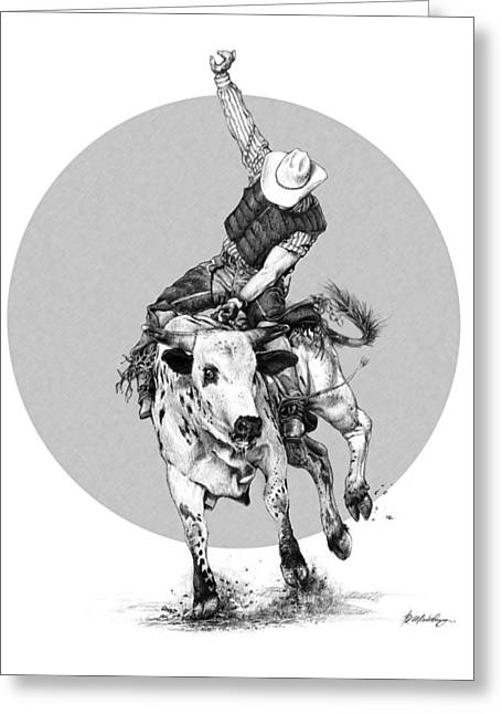 Broncos Drawings Greeting Cards - Bull Ridin Greeting Card by Bob Manthey
