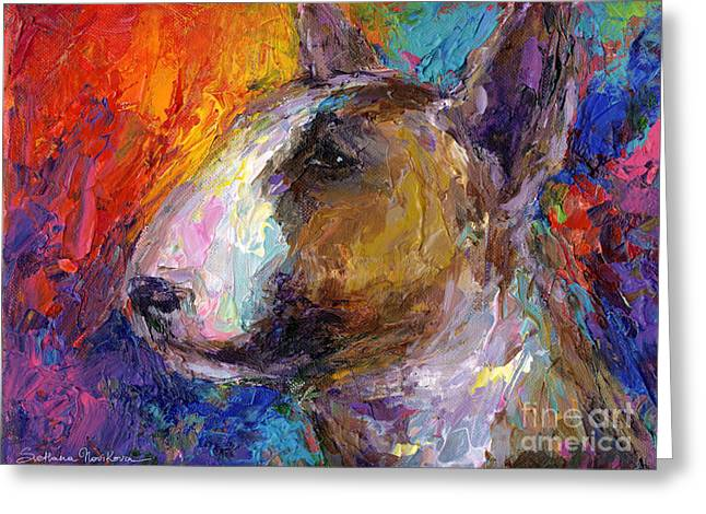 Impressionistic Poster Greeting Cards - Bull Terrier Dog painting Greeting Card by Svetlana Novikova