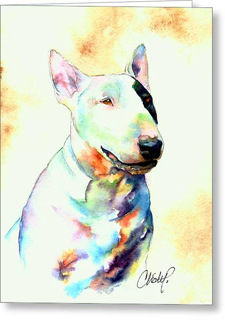 Bull Terrier Greeting Cards - Bull Terrier Dog Portrait Greeting Card by Christy  Freeman