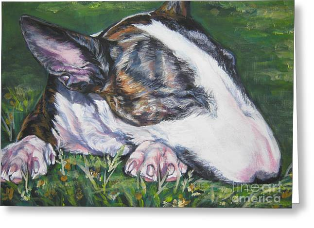 Bull Terrier Greeting Cards - bull Terrier Greeting Card by Lee Ann Shepard