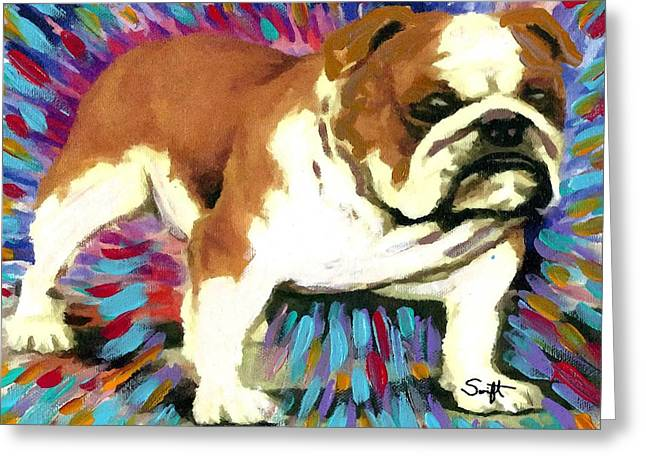 Dog Greeting Cards - Bulldog Greeting Card by Char Swift