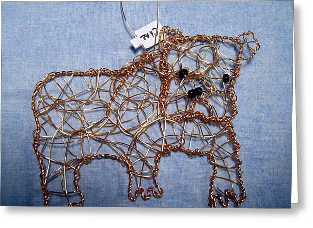 Dog Sculptures Greeting Cards - Bulldog ornament Greeting Card by Charlene White