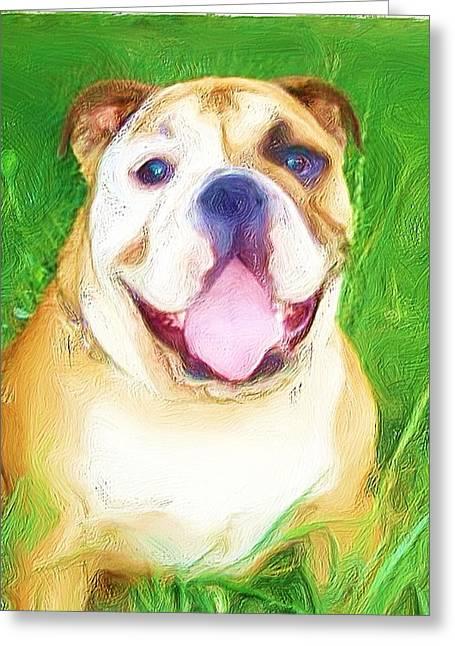 Bulldog Greeting Card by Ritmo Boxer Designs