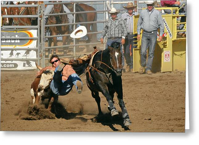 Steer Greeting Cards - Bulldogging at the Rodeo Greeting Card by Christine Till
