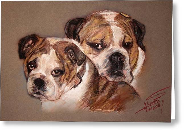 Dog Pastels Greeting Cards - Bulldogs Greeting Card by Ylli Haruni