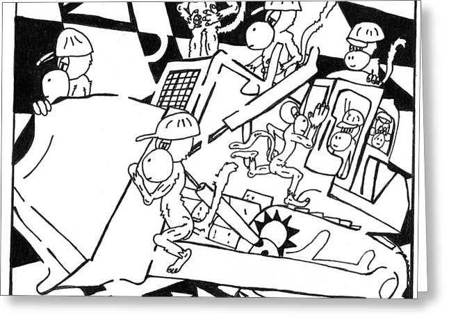 Bulldozer Monkeys Greeting Card by Yonatan Frimer Maze Artist