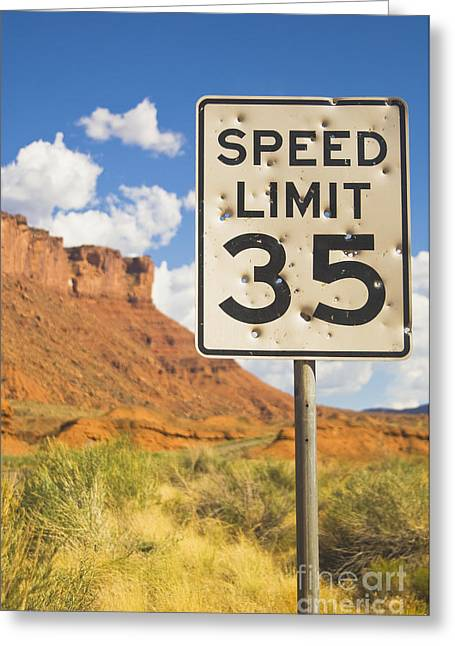 Vandalize Photographs Greeting Cards - Bullet Holes in Speed Limit Sign Greeting Card by Thom Gourley/Flatbread Images, LLC