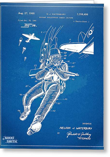 Navy Seals Greeting Cards - Bulletproof Patent Artwork 1968 Figure 14 Greeting Card by Nikki Marie Smith