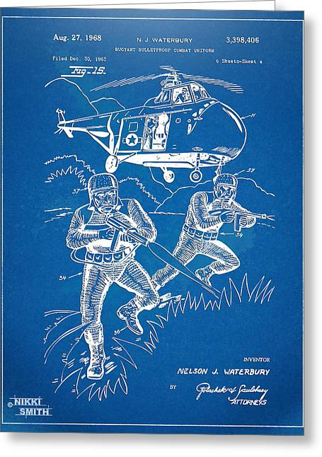 Navy Seals Greeting Cards - Bulletproof Patent Artwork 1968 Figure 15 Greeting Card by Nikki Marie Smith