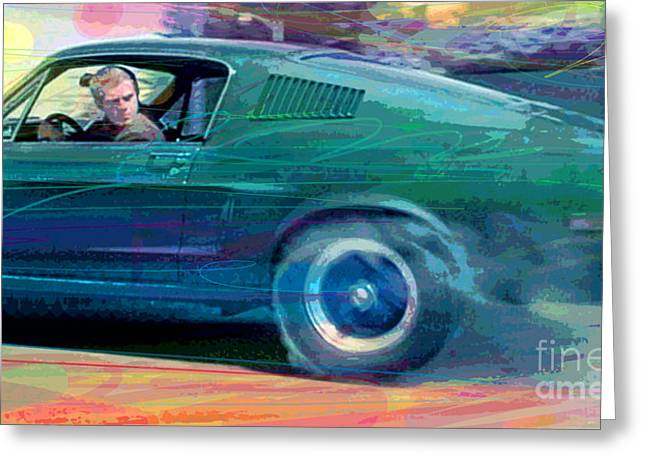 Fastback Greeting Cards - Bullitt Mustang Greeting Card by David Lloyd Glover