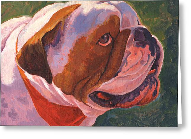 Dog Close-up Paintings Greeting Cards - Bully for Me Greeting Card by Shawn Shea