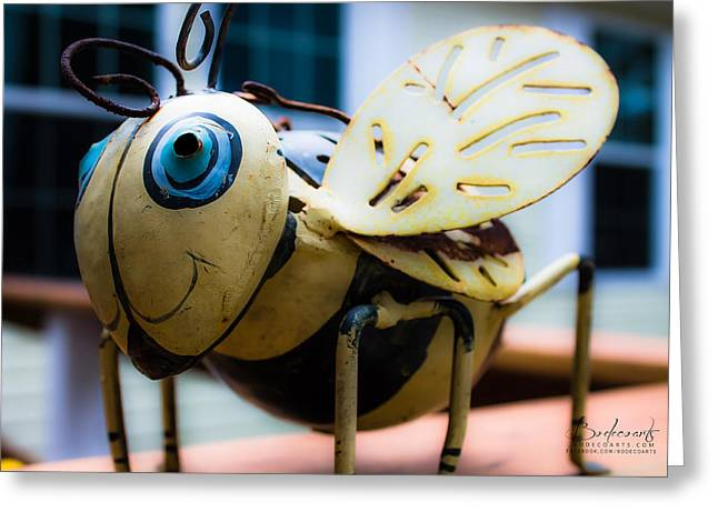 Robin Lewis Greeting Cards - Bumble Bee of Happiness Metal Sculpture Greeting Card by Robin Lewis