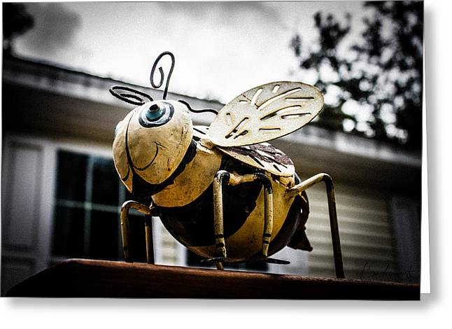 Robin Lewis Greeting Cards - Bumble Bee of Happiness Metal Statue Greeting Card by Robin Lewis