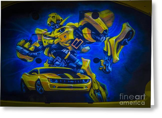 Tricked-out Cars Greeting Cards - Bumble Bee Transformer Greeting Card by Chuck Re