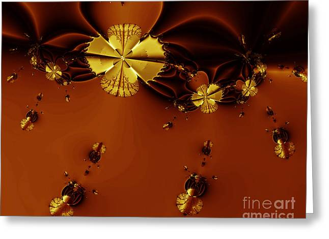 Geometrical Art Greeting Cards - Bumble Beez Over Chocolate Lake . S19 Greeting Card by Wingsdomain Art and Photography