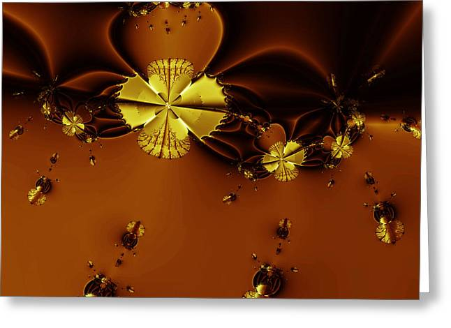 Fractal Geometry Digital Art Greeting Cards - Bumble Beez Over Chocolate Lake . Square . S19 Greeting Card by Wingsdomain Art and Photography