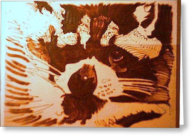 Woodburn Pyrography Greeting Cards - Bumper the raccoon Greeting Card by Timothy Wilkerson