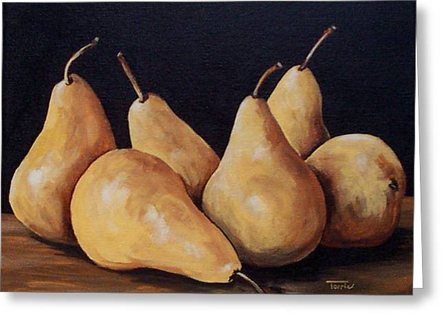 Bosc Greeting Cards - Bunch Of Bosc Pears  Greeting Card by Torrie Smiley