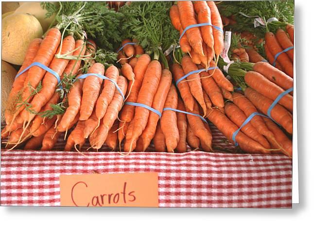 Food Pyrography Greeting Cards - Bunch of carrots Greeting Card by Hiroko Sakai
