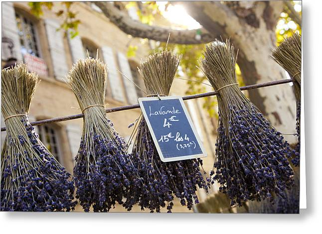 Languedoc Greeting Cards - Bunches Of Lavender Hang From A Pole Greeting Card by Taylor S. Kennedy
