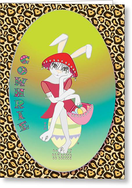 Youthful Digital Greeting Cards - Bunnie Girls- Cowhrie- 3 Of 4 Greeting Card by Brenda Dulan Moore