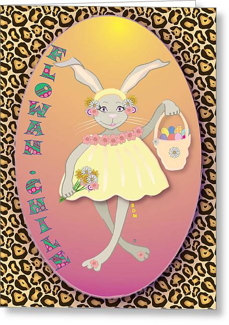 Bunnie Greeting Cards - Bunnie Girls- Flowah Chile 1 Of 4  Greeting Card by Brenda Dulan Moore