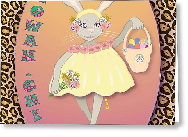 BUNNIE GIRLS- FLOWAH CHILE 1 OF 4  Greeting Card by BRENDA DULAN MOORE