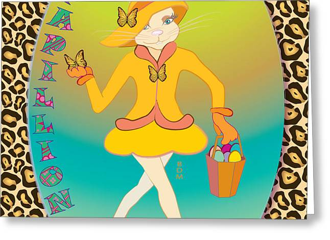 BUNNIE GIRLS- PAPILLION- 4 OF 4 Greeting Card by BRENDA DULAN MOORE