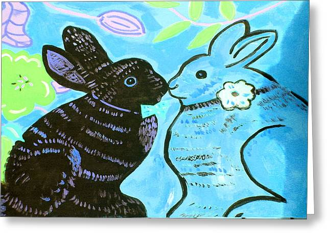 Best Sellers -  - Print Ceramics Greeting Cards - Bunnies In Love Greeting Card by Patricia Lazar