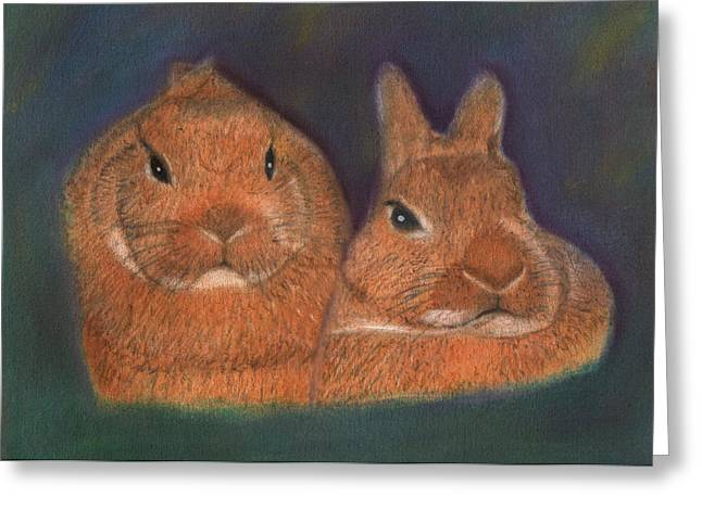 Together Pastels Greeting Cards - Bunny Buddies Greeting Card by  David Willingham
