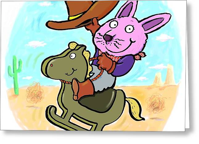 Bunny Cowboy Greeting Card by Scott Nelson