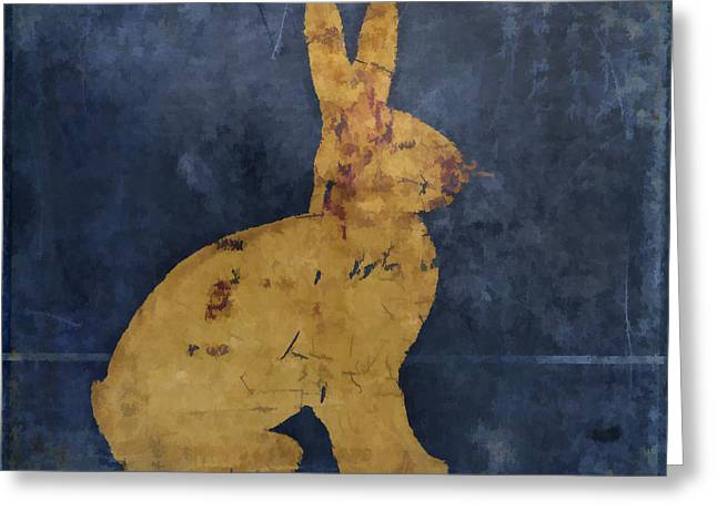 Child Toy Greeting Cards - Bunny in Blue Greeting Card by Carol Leigh