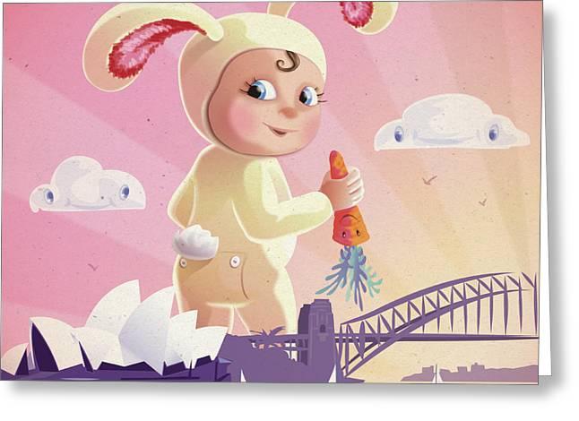 Cute Digital Art Greeting Cards - Bunny Mae Greeting Card by Simon Sturge