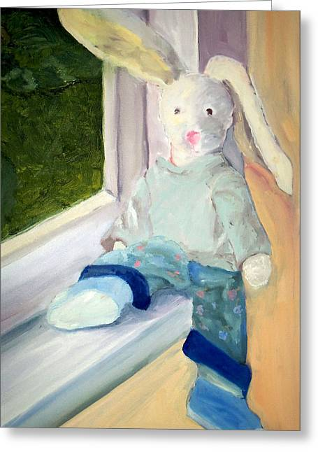 Ledge Drawings Greeting Cards - Bunny on Window Ledge Greeting Card by Sarah Howland-Ludwig