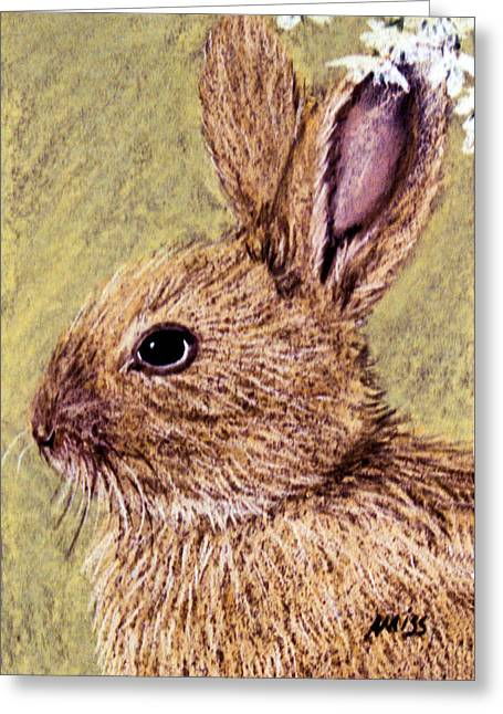 Nursery Pastels Greeting Cards - Bunny Profile Greeting Card by Jan Amiss