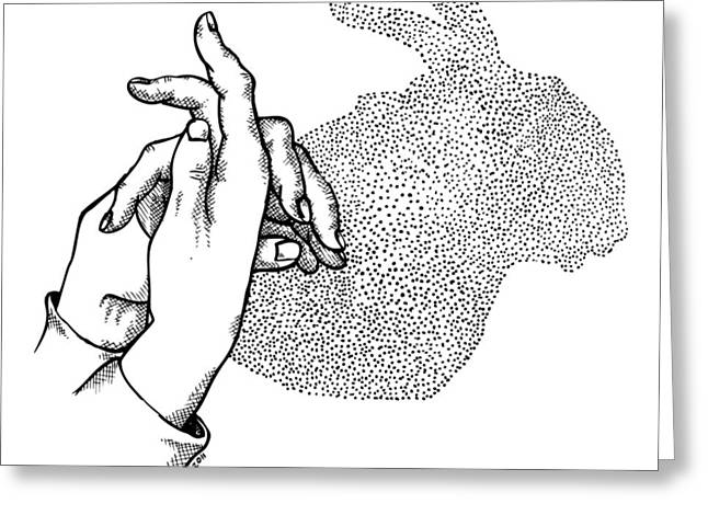 Hand Drawn Drew Greeting Cards - Bunny Shadow Hands Greeting Card by Karl Addison