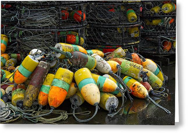 Rectangles Greeting Cards - Buoys and Crabpots on the Oregon Coast Greeting Card by Carol Leigh