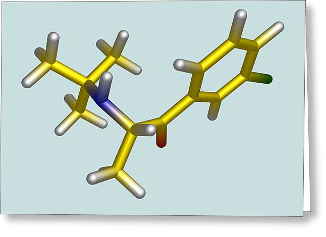 Bupropion Drug Molecule Greeting Card by Dr Tim Evans
