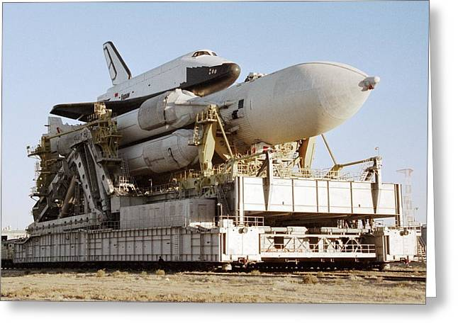 1980s Greeting Cards - Buran Space Shuttle Before Flight Greeting Card by Ria Novosti